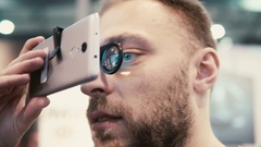 Close-up bearded attractive man uses virtual reality glasses Stock Footage