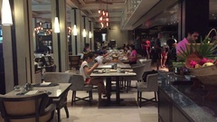 Luxury hotel dining room in Thailand Stock Footage