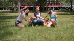 Young people shoots themselves and dogs on phone Stock Footage