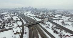 Detroit Michigan Highway Aerial 4K Stock Footage
