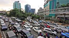 Traffic jam in Jakarta, Indonesia capital city Stock Footage