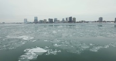 Detroit River Flying towards Windsor Aerial 4K Stock Footage