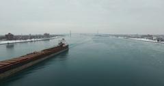Detroit River Barge Pull Back Aerial 4K Stock Footage