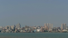 Skyline of Tamsui seen from Bali district Stock Footage