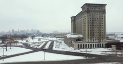 Detroit Michigan Train Station Aerial 4K Stock Footage