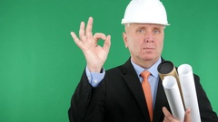 Confident Building Engineer with Construction Plans Present Ok Hand Gesture. Stock Footage