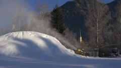 Snow machine blowing artificial snow Stock Footage