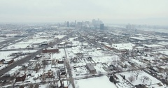 Detroit Michigan City Scape Push Aerial 4K Stock Footage