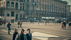 People walking in Piazza del Duomo (Duomo Square) in Milano (Milan, Italy) Stock Footage