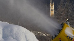 Creating artificial snow in Austria Stock Footage