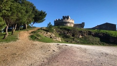 Beautiful panorama of Populonia tower on a windy day Stock Footage