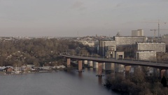 Train bridge in central Stockholm Stock Footage