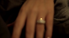 Engagement ring on woman's hand with silver fingernails Stock Footage