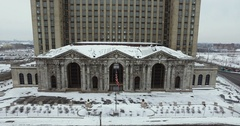 Abandoned Train Station Detroit Michigan Flyover Close Aerial 4K Stock Footage