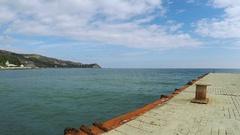 Marine concrete pier Stock Footage