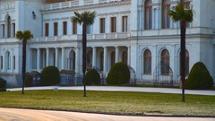 Palm trees in front of Livadia Palace Stock Footage