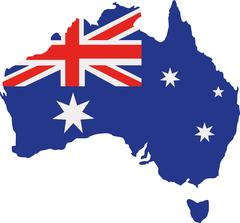 Australia map with flag Stock Illustration