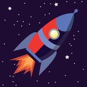 Illustration of a cute cartoon rocket space ship isolated on starry background Piirros