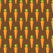 Carrot stock vector seamless pattern on brown background Stock Illustration