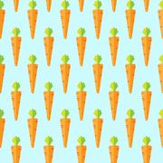 Carrot stock vector seamless pattern on light blue background Stock Illustration