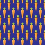 Carrot stock vector seamless pattern on blue background Stock Illustration