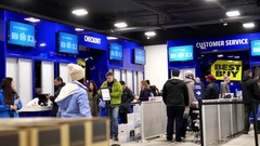 Motion of people line up for buying gift inside Best buy store w Stock Footage