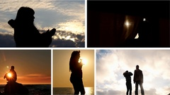 Collage of dreaming people - 5 videos with silhouettes Stock Footage