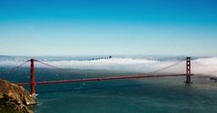 Low Fog under Golden Gate Bridge Stock Footage