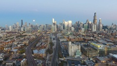 Evening View of City Skyline with moon Flyaway From City Stock Footage