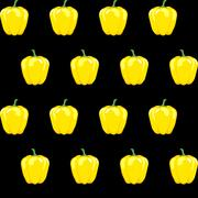 Yellow bell pepper stock vector seamless pattern on black background Stock Illustration