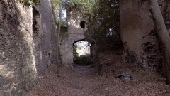 Flying into ancient arch etruscan city Stock Footage