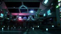 Space ship futuristic interior. Sunrise view from cabine. Galactic travel concep Stock Footage