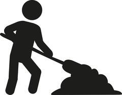 Workman with shovel Stock Illustration