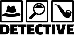 Detective icons - Hat, magnifying glass, pipe. Stock Illustration