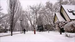 Winter scene, man walking in the snowy street Stock Footage