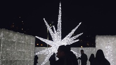 Pretty Christmas White Star-shaped Lights -Enchant Vancouver Stock Footage