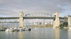 Burrard Bridge near Granville Island - Winter Stock Footage