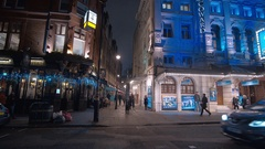 Beautiful Noel Coward Theatre in London West End - beautiful night view Stock Footage