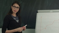 Young woman in glasses writing on a flipchart with marker Stock Footage