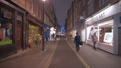 Small lane in London West End by night Stock Footage
