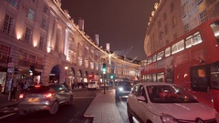 Amazing Christmas decoration at Regent street London - great night shot Stock Footage
