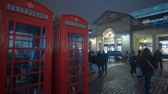 London Telephone booth at Covent Garden Stock Footage
