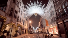 Amazing Bond Street Christmas decoration by night Stock Footage