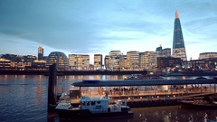London Southwark and Tower Pier in the evening Stock Footage