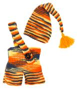 Set of kids knitted clothes: colorful baby's hat and pants Kuvituskuvat