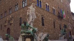 Neptune Statue, Piazza Della Signoria, Florence, Italy Stock Footage