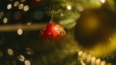 Red Ball with Golden Snow Christmas Tree Ornament Stock Footage