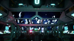Space ship futuristic interior. Meteorits view from cabine. Galactic travel conc Stock Footage