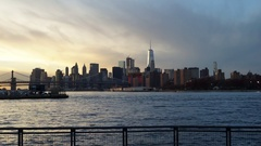 Sunset Time-lapse video of the World Trade Center and Financial District Stock Footage