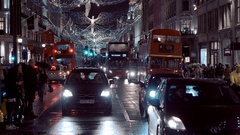 Beautiful Christmas decoration at famous Regent Street in London - great night Stock Footage